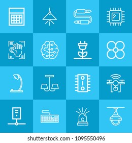 Outline technology 16 vector icons set. 16 icons page symbol for your web site design. logo, app, ui, illustration, eps10 such as fan, lamp, audio jack, keyboard