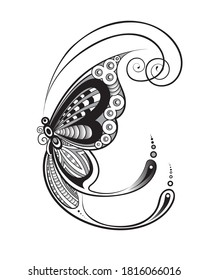 Outline of Thai art Butterfly .Magnificent Digital craft Vector illustration on white background.