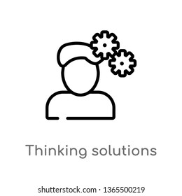 outline thinking solutions vector icon. isolated black simple line element illustration from miscellaneous concept. editable vector stroke thinking solutions icon on white background