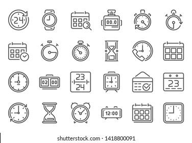 Outline time icon. Timekeeper, stopwatch and timer icons. Alarm clock, calendar and line hourglass sign vector set