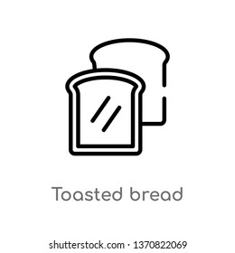 outline toasted bread vector icon. isolated black simple line element illustration from bistro and restaurant concept. editable vector stroke toasted bread icon on white background