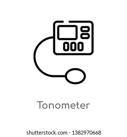 outline tonometer vector icon. isolated black simple line element illustration from health and medical concept. editable vector stroke tonometer icon on white background