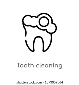 outline tooth cleaning vector icon. isolated black simple line element illustration from dentist concept. editable vector stroke tooth cleaning icon on white background