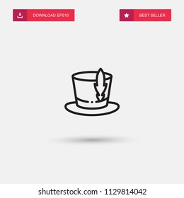Outline Top Hat Icon isolated on grey background. Modern simple flat symbol for web site design, logo, app, UI. Editable stroke. Vector illustration. Eps10