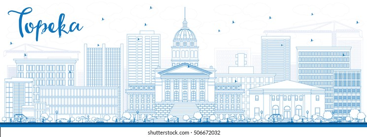 Outline Topeka Skyline with Blue Buildings. Vector Illustration. Business Travel and Tourism Concept with Modern Architecture. Image for Presentation Banner Placard and Web Site.