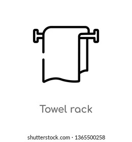 outline towel rack vector icon. isolated black simple line element illustration from miscellaneous concept. editable vector stroke towel rack icon on white background