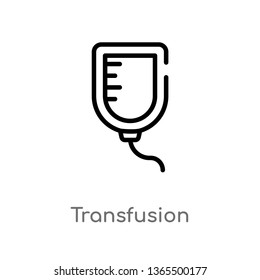 outline transfusion vector icon. isolated black simple line element illustration from medical concept. editable vector stroke transfusion icon on white background