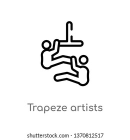 outline trapeze artists vector icon. isolated black simple line element illustration from animals concept. editable vector stroke trapeze artists icon on white background