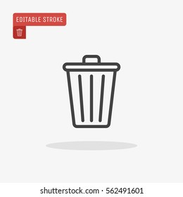 Outline Trash Icon isolated on grey background for web site design, logo, app, UI. Editable stroke. Vector illustration. EPS10