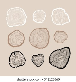 Outline tree rings set