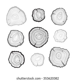 Outline tree rings set. Black saw cut tree trunk on white background.
