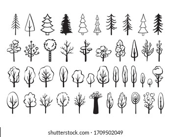 Outline trees hand drawn set. Simple style.