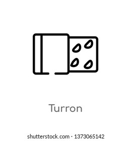 outline turron vector icon. isolated black simple line element illustration from culture concept. editable vector stroke turron icon on white background