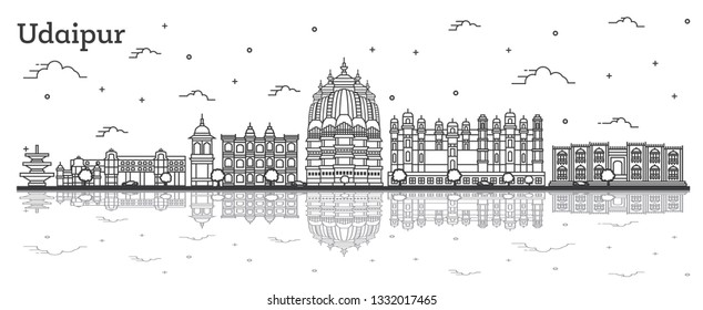 Outline Udaipur India City Skyline with Historical Buildings and Reflections Isolated on White. Vector Illustration. Udaipur Cityscape with Landmarks.