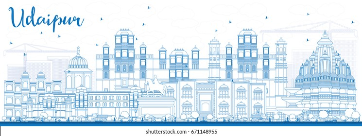 Outline Udaipur Skyline with Blue Buildings. Vector Illustration. Business Travel and Tourism Concept with Historic Architecture. Image for Presentation Banner Placard and Web Site.