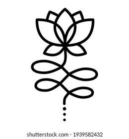 Outline Unalome Lotus. Black Flower isolated on white background. Sacred Buddhist Floral Symbol. Yoga Studio Logo Design. Tattoo design. Hindu style. Vector illustration