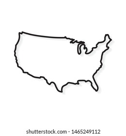 outline United States map- vector illustration
