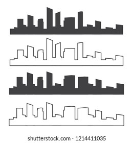Outline urban vector cityscape. Skyline city silhouettes