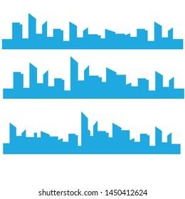 Outline urban vector cityscape. Skyline city silhouettes. City landscape template. Thin line City landscape