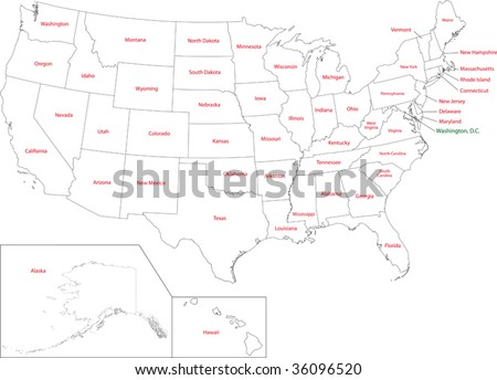 Outline USA Map States Stock Vector (Royalty Free) 36096520 ...