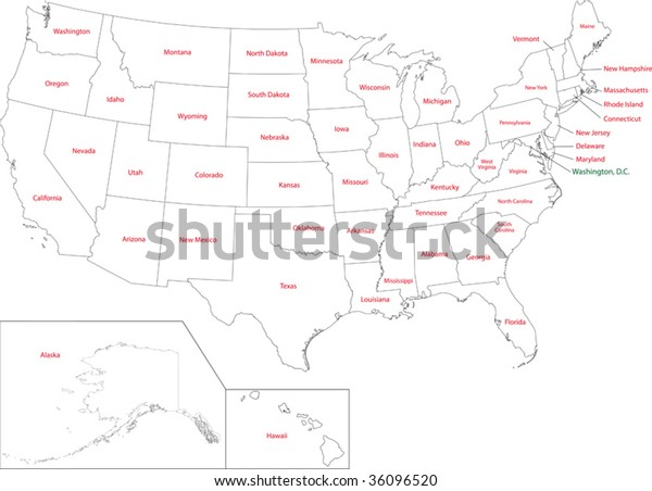 Outline Usa Map States Stock Vector (Royalty Free) 36096520