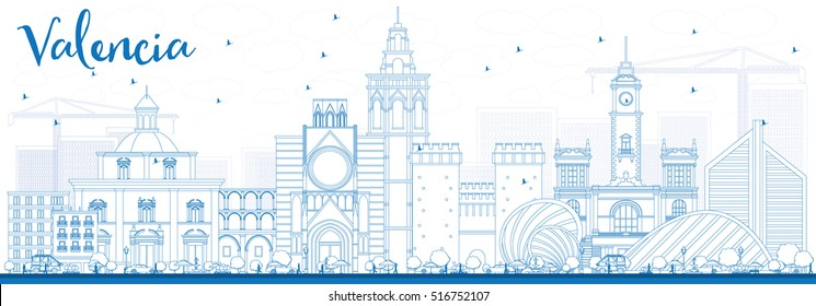 Outline Valencia Skyline with Blue Buildings. Vector Illustration. Business Travel and Tourism Concept with Historic Architecture. Image for Presentation Banner Placard and Web Site.