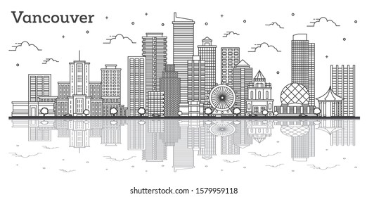 Outline Vancouver Canada City Skyline with Modern Buildings and Reflections Isolated on White. Vector Illustration. Vancouver Cityscape with Landmarks.