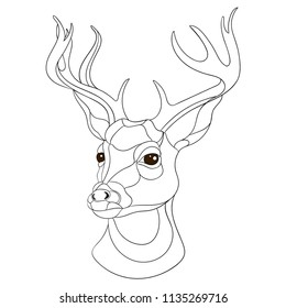 Outline vector artwork with a deer. Neo traditional style. Easy to change color.