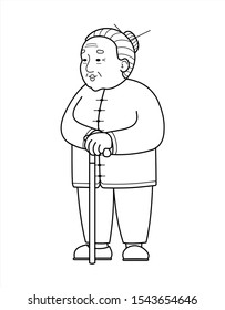 outline vector Asian, Chinese, Korean, Mongolian, Vietnamese Old Woman With A Cane. Elderly Woman in trousers, Senile People Concept. Babushka. Isolated On A White Background.