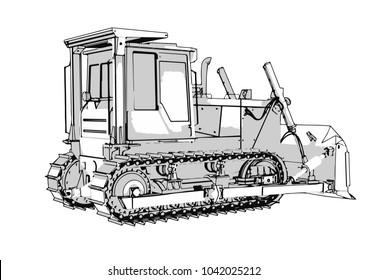 outline vector bulldozer