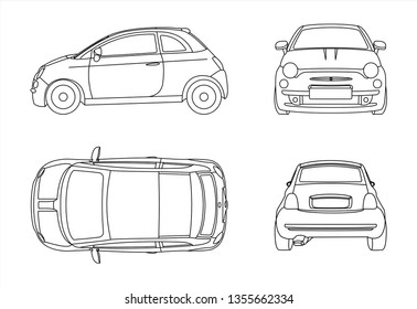 Outline vector car isolated on white background, side view; front view; back view; view from above. Modern flat illustration.