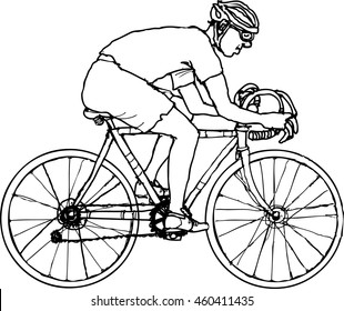 outline vector of a cyclist