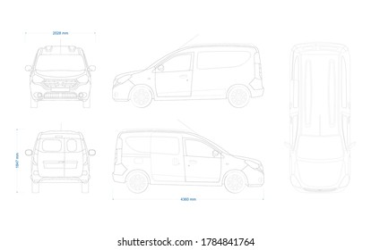 Outline vector drawing of a minivan, Cargo van blueprint. Car vector mock-up. Mini van vector template. Vehicle branding mock-up. View from side, front, back and top. Dacia Dokker 2012.