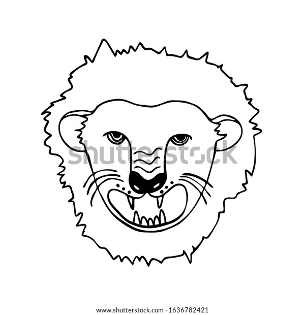 Outline Vector Fat Lion Face Big Stock Vector Royalty Free 1636782421 When face painting a lion, it's important to decorate and accentuate the eyes. https www shutterstock com image vector outline vector fat lion face big 1636782421