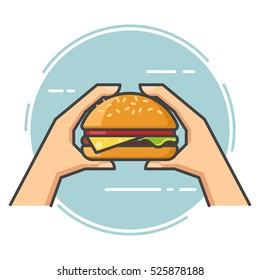 Outline vector flat. Hand holding a burger.