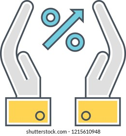 Outline vector icon of hands holding percent symbol, interest rates concept illustration