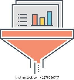 Outline vector icon illustration of data filtering system