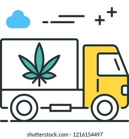 Outline vector icon illustration of truck shipping marijuana