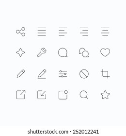 Outline vector icons for web and mobile. Thin 1 pixel stroke & 60x60 resolution.