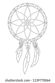 Outline vector illustration of boho dreamcatcher isolated on white background. Useful for coloring pages and books.