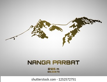 Outline vector illustration of bronze Mt. Nanga Parbat (8091 m)