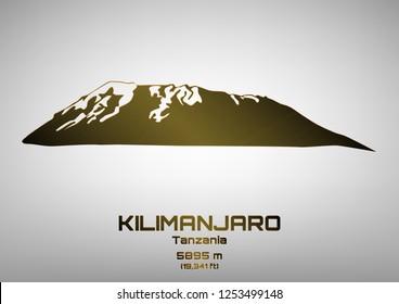 Outline vector illustration of bronze Mt. Kilimanjaro (5895 m)