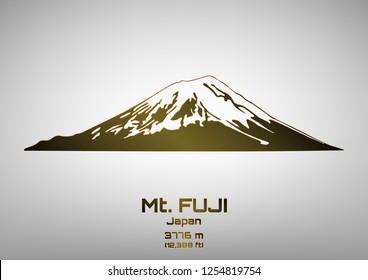 Outline vector illustration of bronze Mt. Fuji (3776 m)