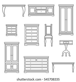 An outline vector illustration of classic furniture. Pieces of furniture.