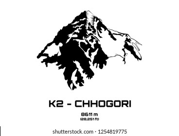 Outline vector illustration of Mt. K2 - Chhogori (8611 m)