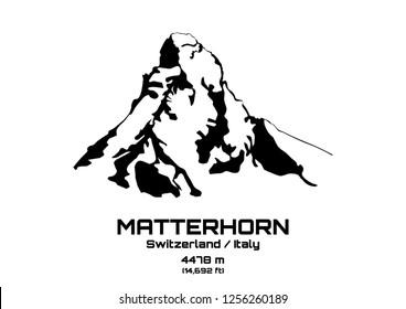 Outline vector illustration of Mt. Matterhorn (4475 m)