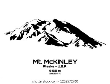 Outline vector illustration of Mt. McKinley (6168 m)