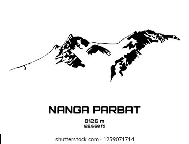 Outline vector illustration of Mt. Nanga Parbat (8091 m)