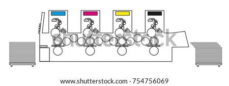 Fabulous Outline Vector Illustration Printing Machine Diagram Stock Vector Wiring Digital Resources Attrlexorcompassionincorg