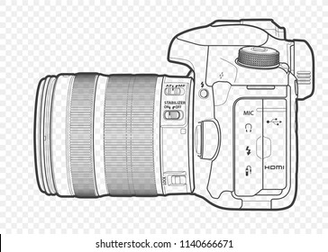 Outline vector illustration of reflex slr camera with lens in half-face, drawn with lines.